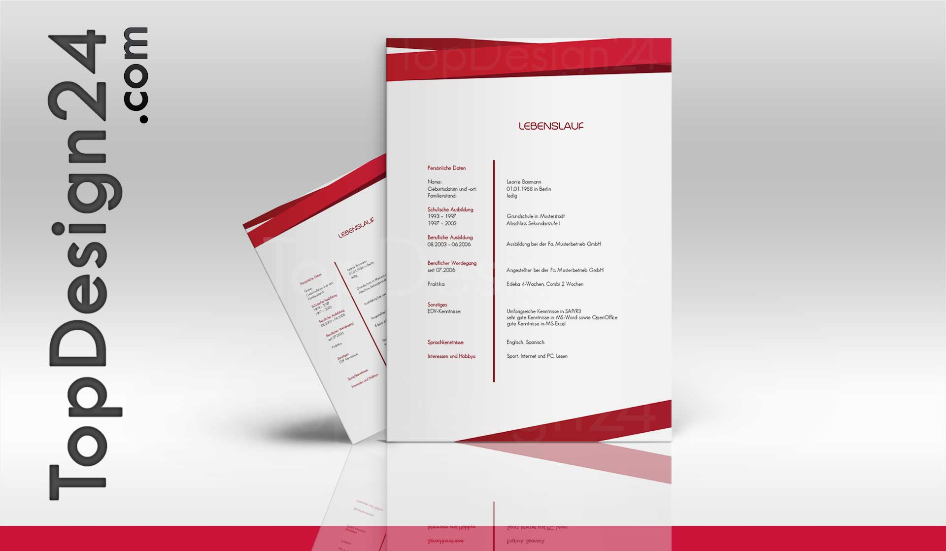 Deckblatt Bewerbung Muster Tabelle – TopDesign24