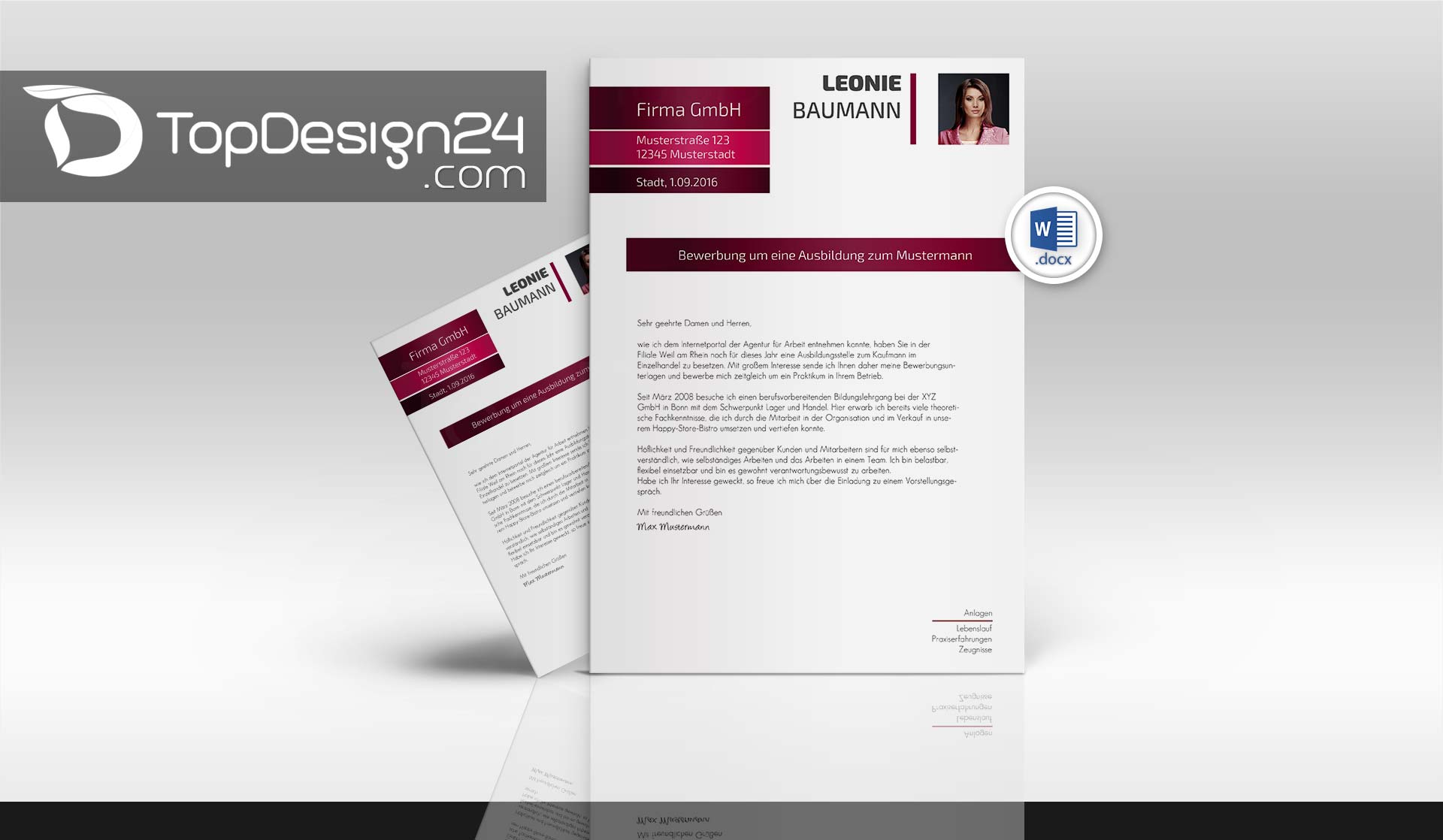 Bewerbung Deckblatt Modern Topdesign24 Bewerbungen